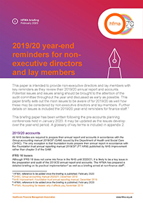 2019/20 year-end reminders for non-executive directors and lay members