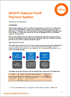 HFMA summary of 2016/17 national tariff payment system