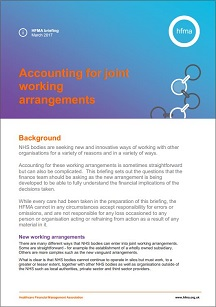 Accounting for joint working arrangements