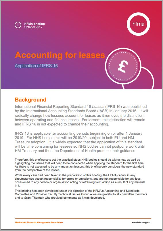 Accounting for leases - application of IFRS 16