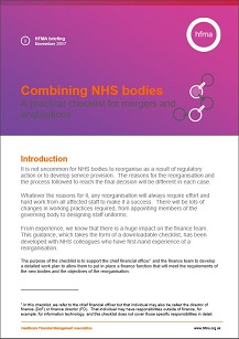 Combining NHS bodies – a practical checklist for mergers and acquisitions