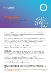 Off payroll: reform of the intermediaries (IR35) legislation - September 2017