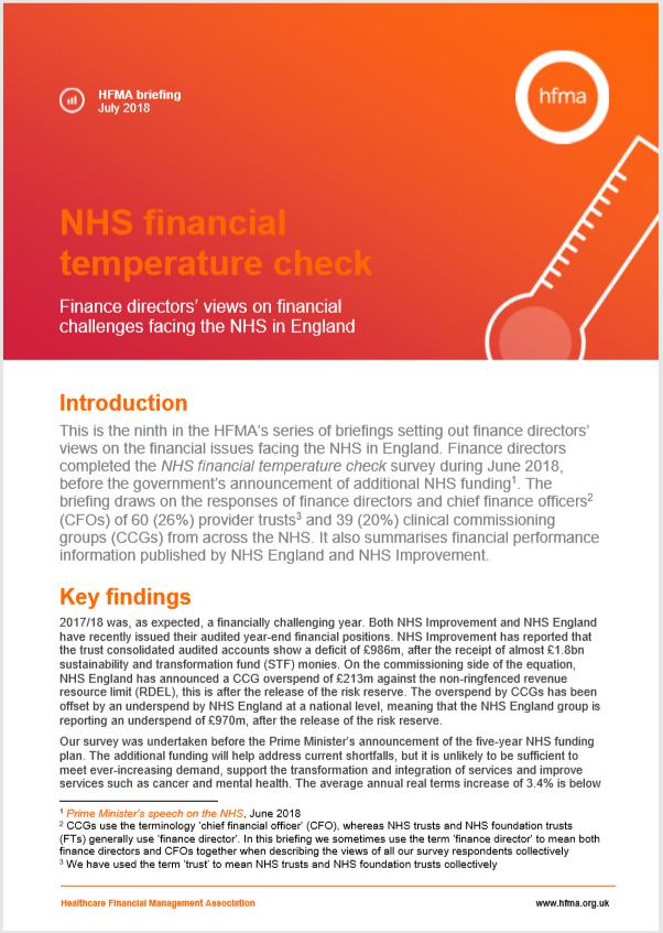 NHS financial temperature check - briefing July 2018