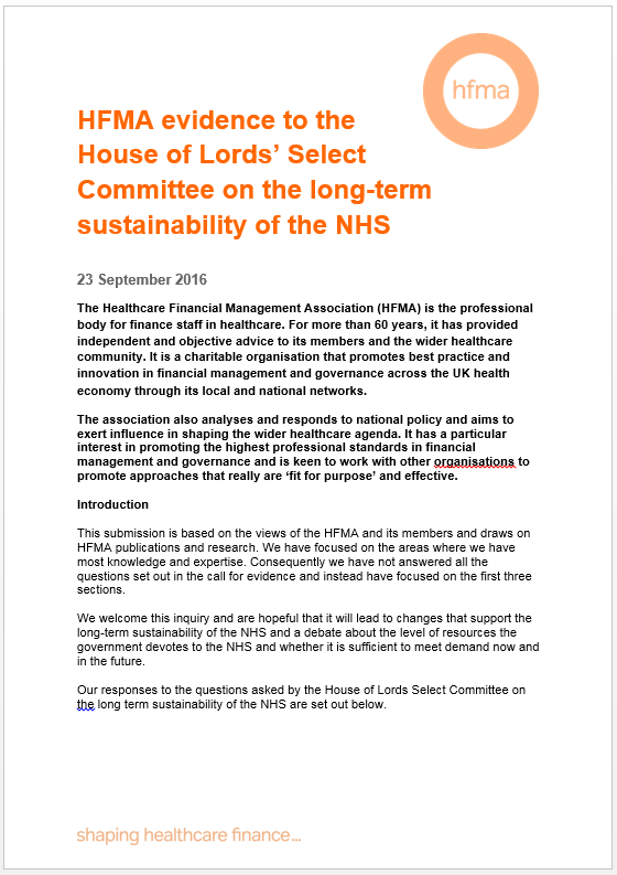 HFMA evidence to the House of Lords Select Committee on the long-term sustainability of the NHS