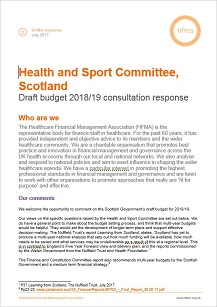 The HFMA's evidence to the Scottish Health and Sport Committee's inquiry into the draft 2018/19 budget