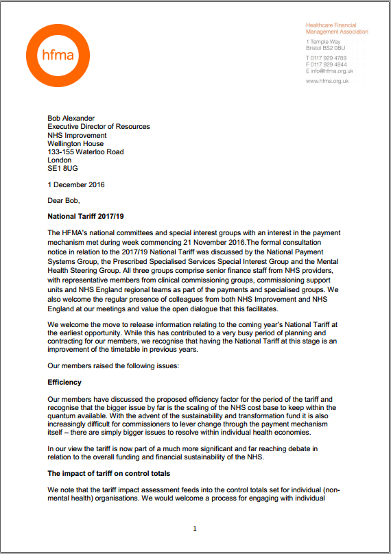 The HFMA response to NHS Improvement's section 118 notice (tariff 2017/19)