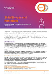 2019/20 year end reminders: issues raised at the pre accounts planning conferences