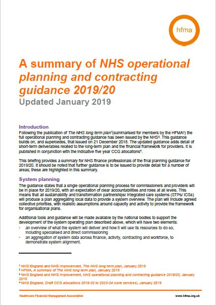 Summary of NHS operational planning and contracting guidance