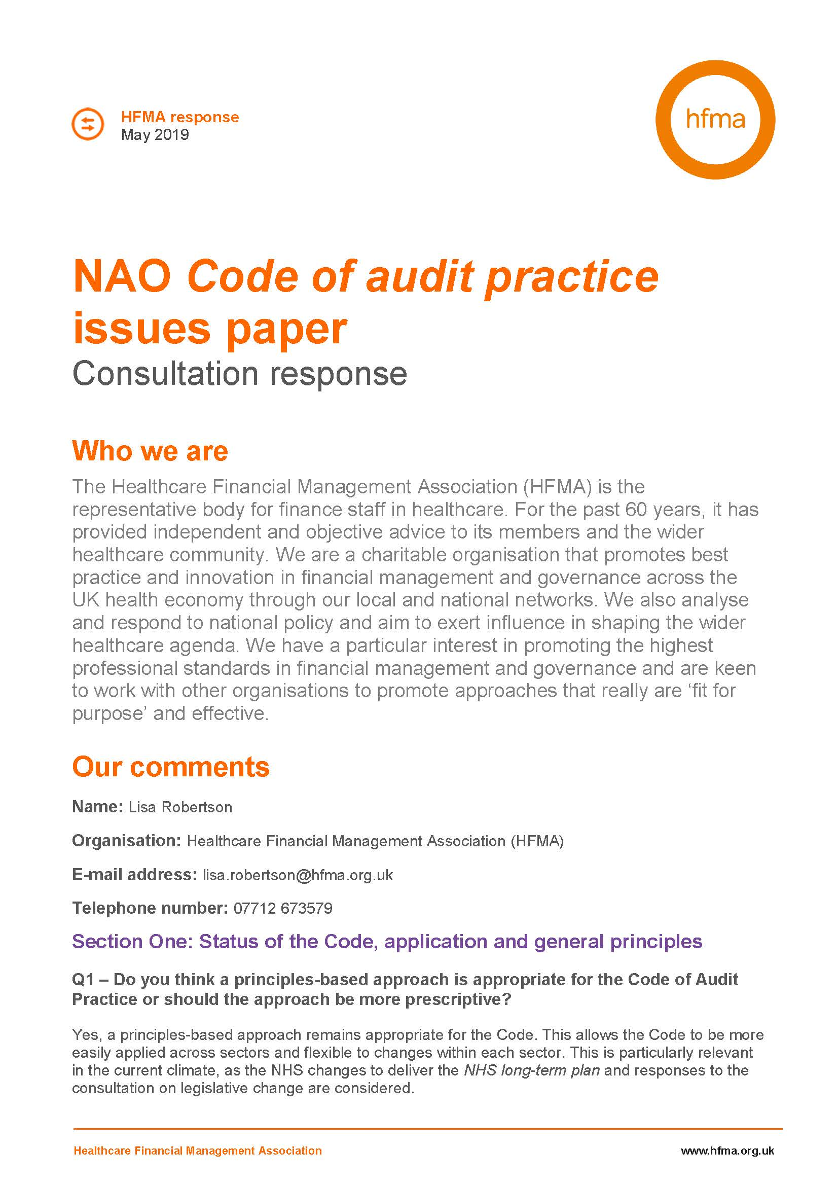 HFMA response to the NAO code of audit practice issues paper