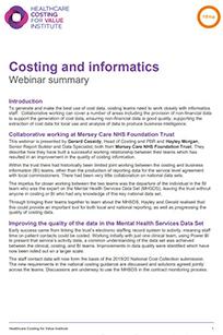Costing and informatics – webinar summary