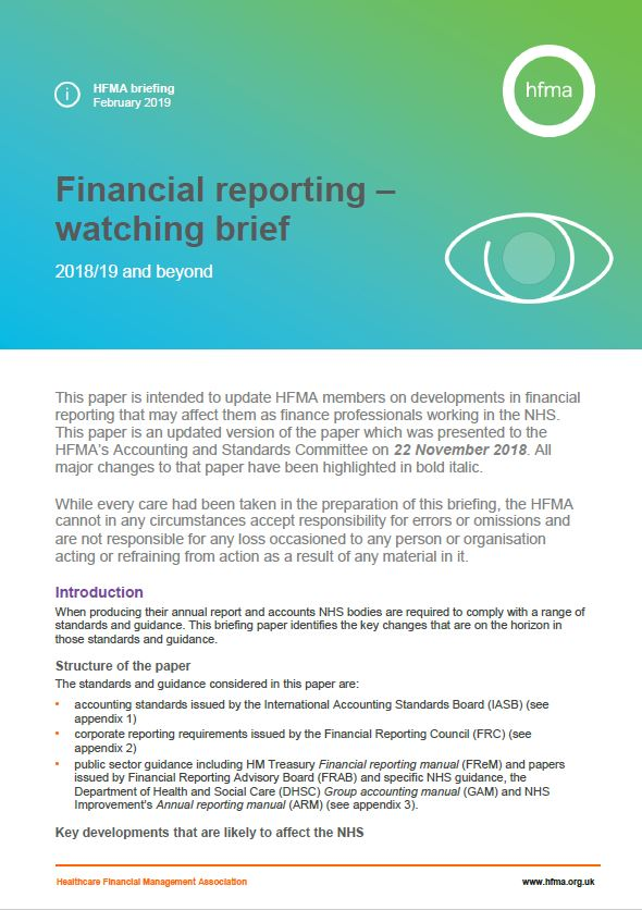 Financial reporting watching brief 2018/19 and beyond (February update)