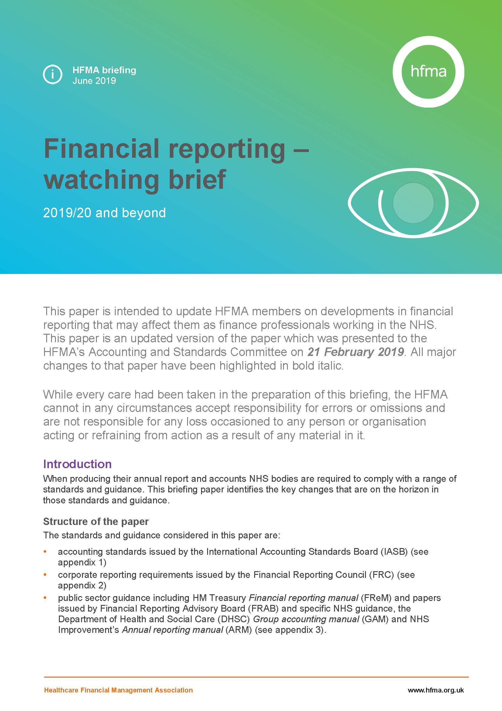 Financial reporting – watching brief 2019/20 and beyond