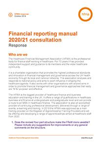 Financial reporting manual 2020/21 consultation Response