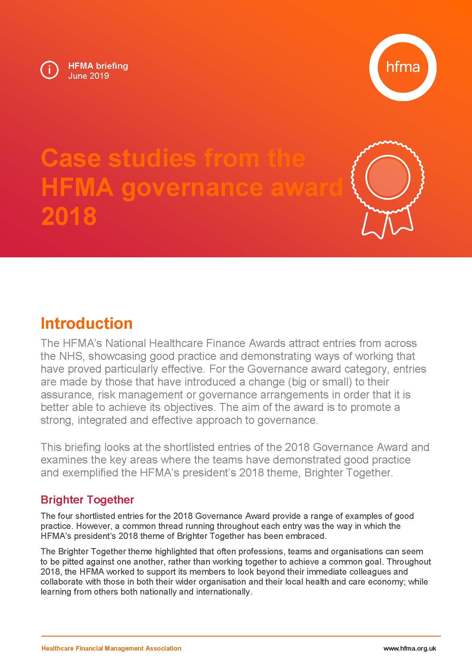 Case studies from the HFMA governance award 2018