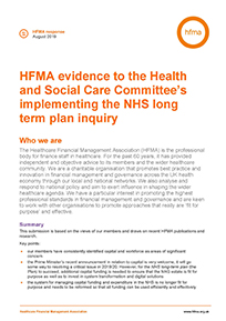 HFMA evidence to the Health and Social Care Committee on implementing the NHS long term plan