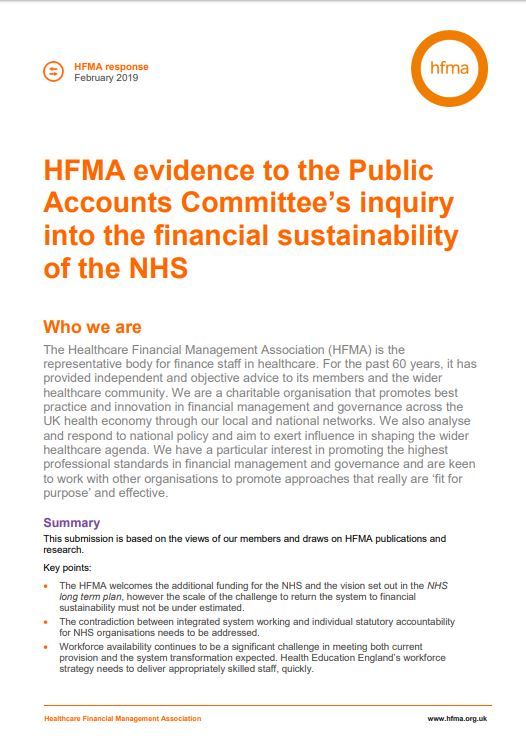 Evidence submitted to Public Accounts Committee inquiry into NHS financial sustainability