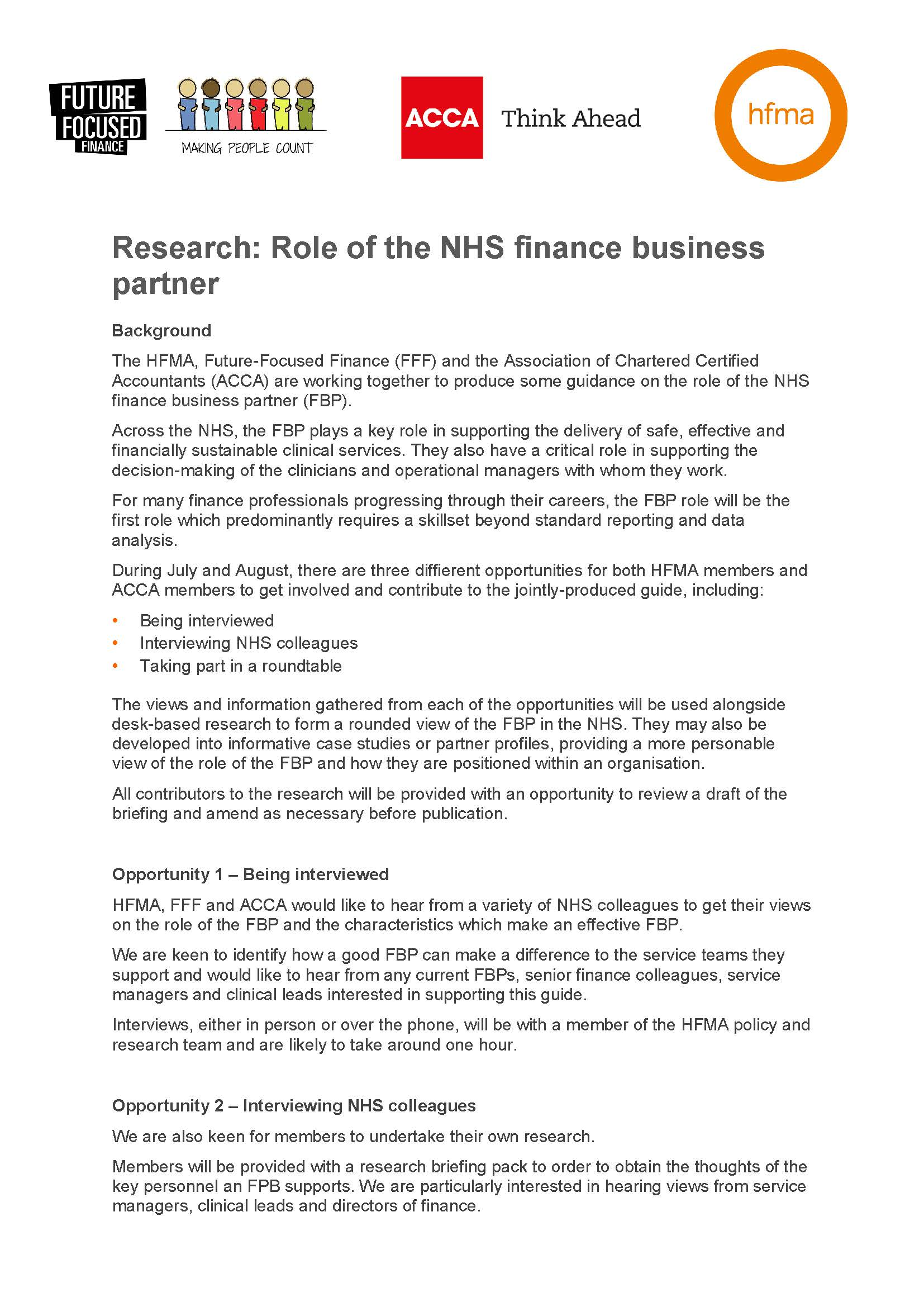 Role of the NHS finance business partner