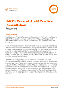 HFMA's response to NAO's Code of Audit Practice Consultation