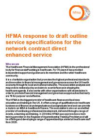HFMA response to draft outline service specifications for the network contract direct enhanced service
