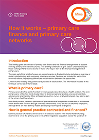 How it works – primary care finance and primary care networks