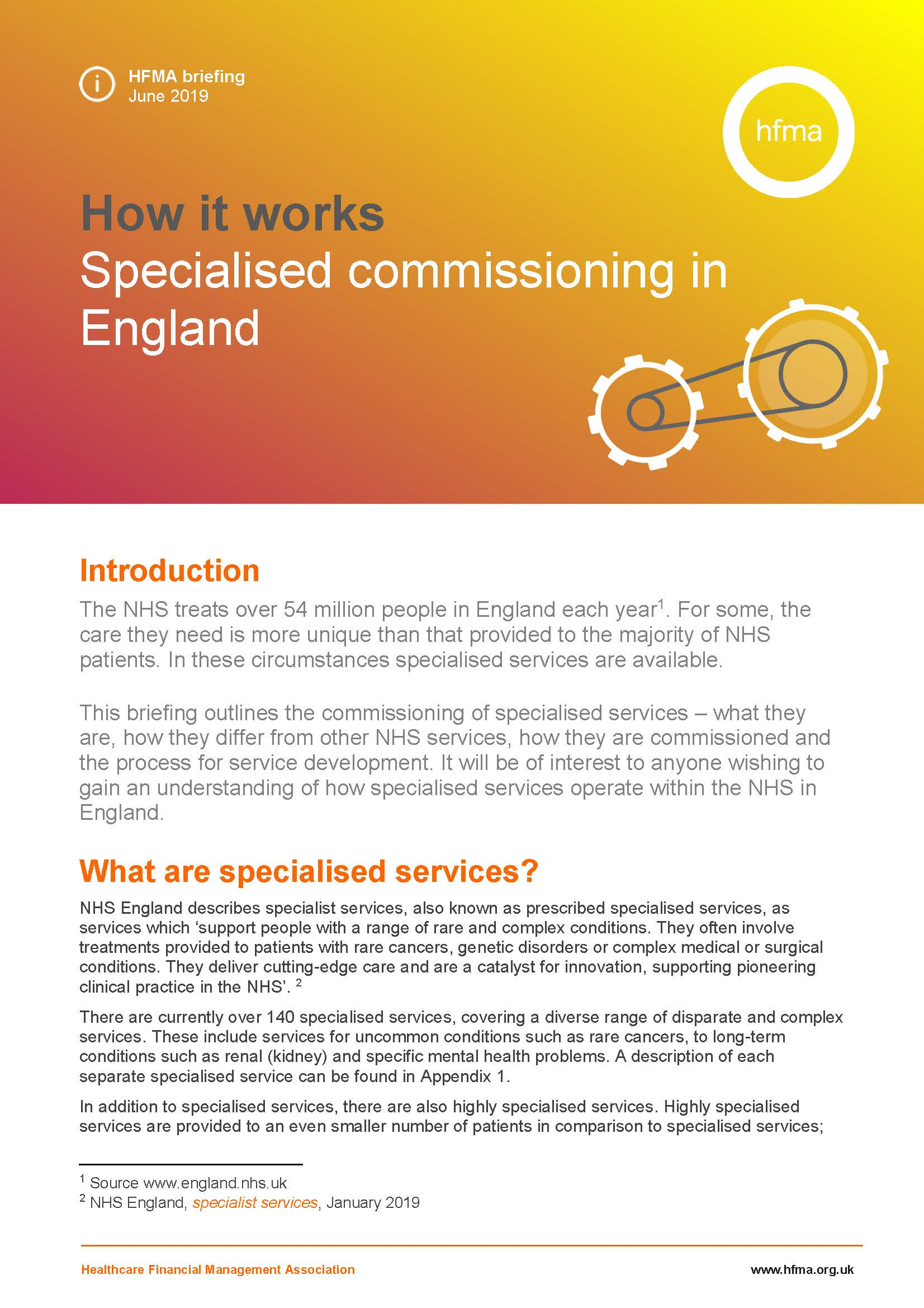 How it works – Specialised commissioning in England