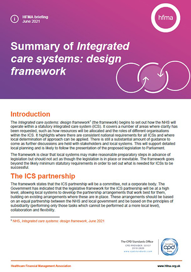 Summary of Integrated care systems: design framework