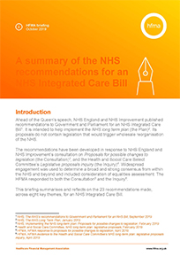 A summary of the NHS recommendations for an NHS Integrated Care Bill