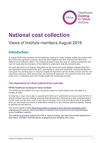 National cost collection – views of Institute members August 2019