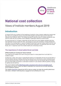 National cost collection 2019 – views and recommendations of HFMA and Institute members