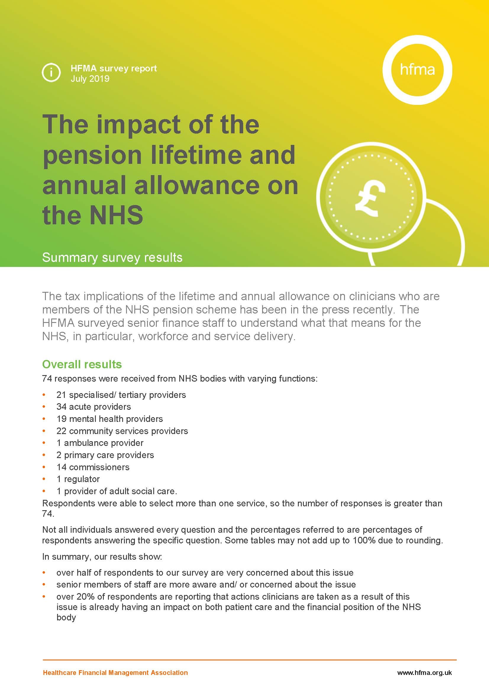 Survey results - impact of the pension lifetime and annual allowance on the NHS