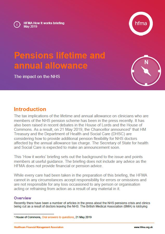 Pensions lifetime and annual allowances: the impact on the NHS