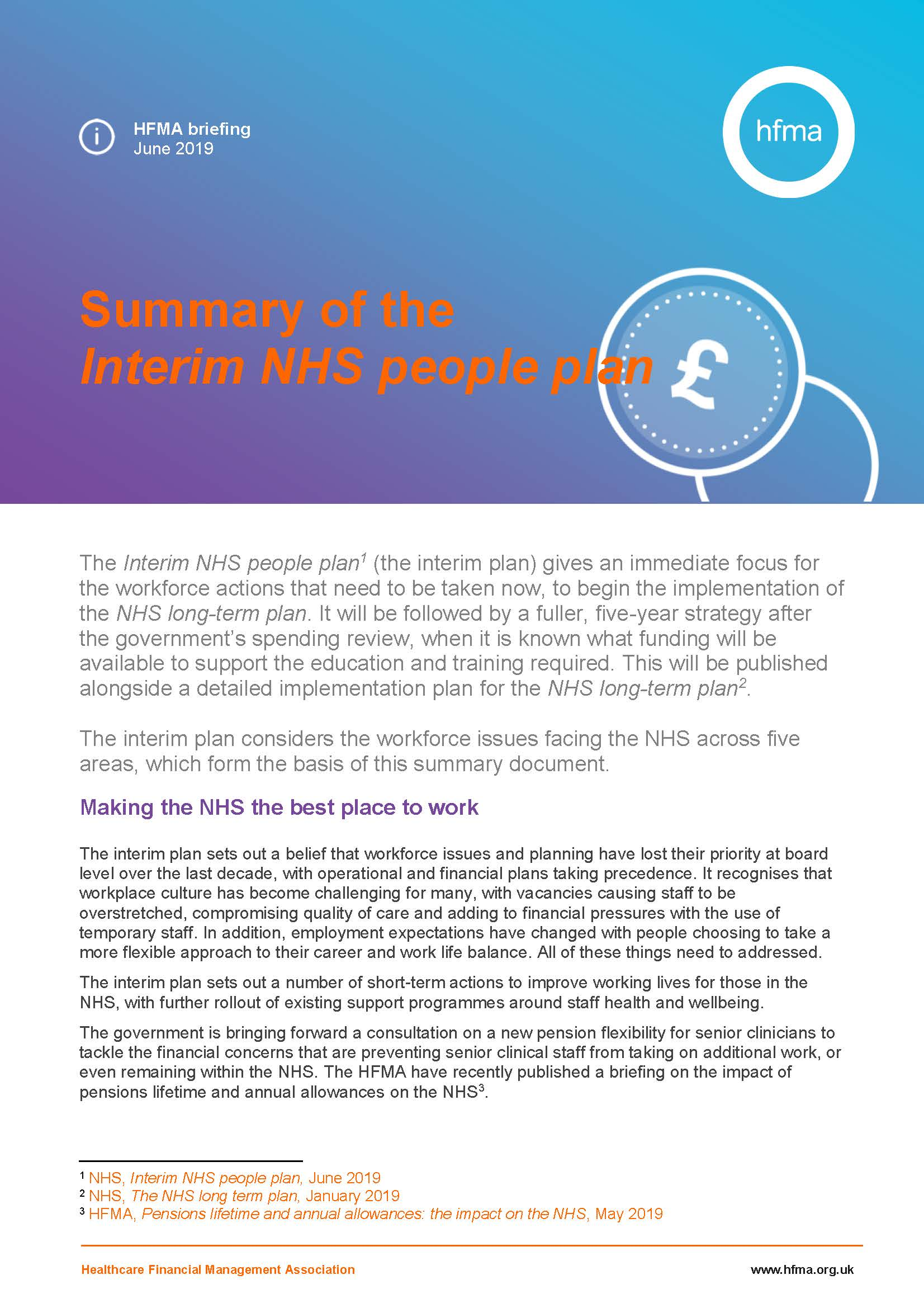 Summary of the Interim NHS people plan