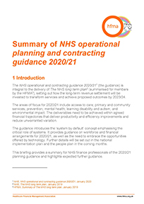 A summary of NHS operational planning and contracting guidance 2020/21