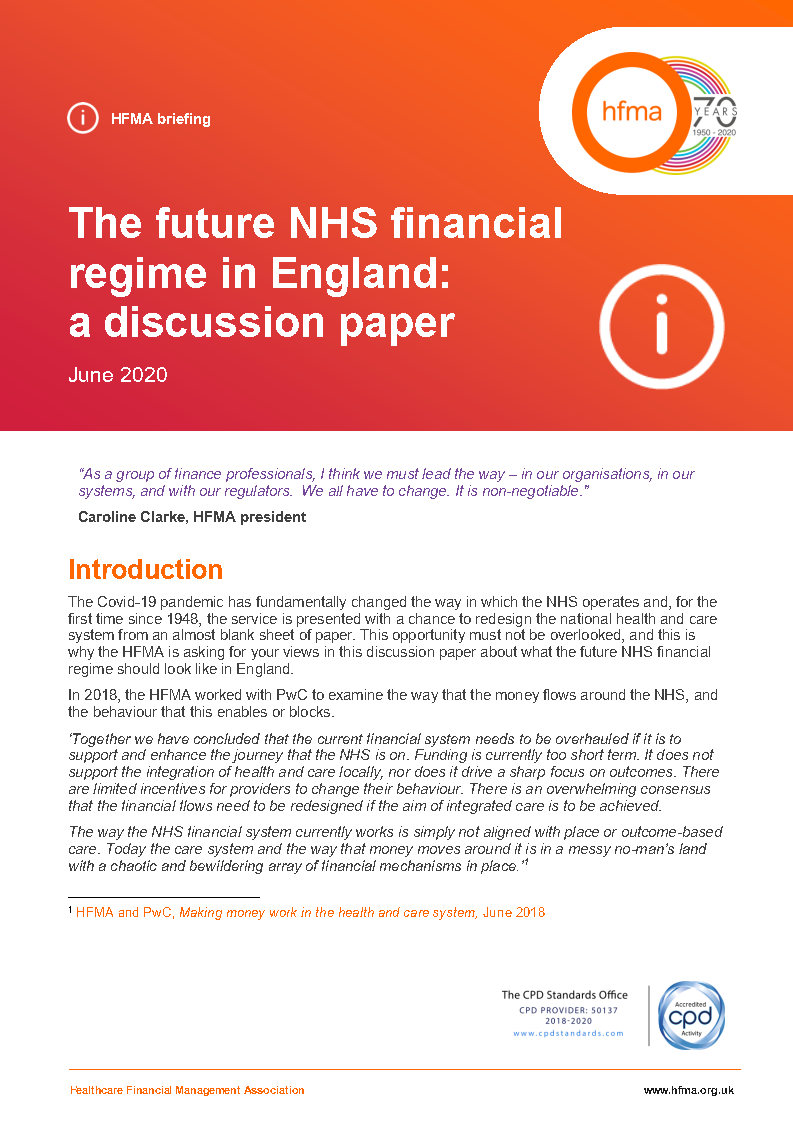 The future NHS financial regime in England: a discussion paper