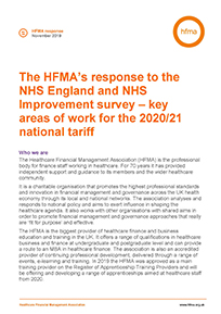 The HFMA's response to NHS England and NHS Improvement survey – key areas of work for the 2020/21 national tariff