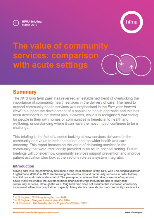 The value of community services: comparison with acute settings